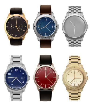 Orologi da polso. Realistici orologi da uomo d'argento e d'oro di lusso con la moderna collezione vettoriale di bracciali in acciaio. Orologio illustrativo con orologio da polso, accessorio per la mano