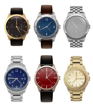 Wristwatches. Realistic luxury silver and golden men watches with modern steel bracelets fashion vector collection. Illustration clock with wristwatch, hand accessory