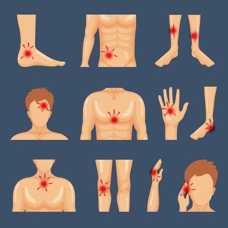 Physical injury. Body parts shoulders trauma pain legs healthy lifestyle flat symbols vector. Illustration physical human injury trauma, pain body dots Illusztráció