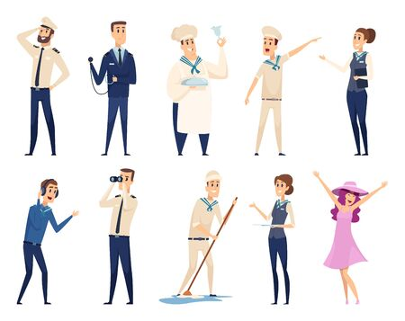 Sea cruise. Sailing captain shipping officer navigating crew ocean travel team vector characters. Illustration crew cruise, seaman and boatswain