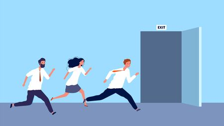 Happy business people run to exit. Weekend started, work day ended. Evacuation vector illustration. Businessman run to exit, door open
