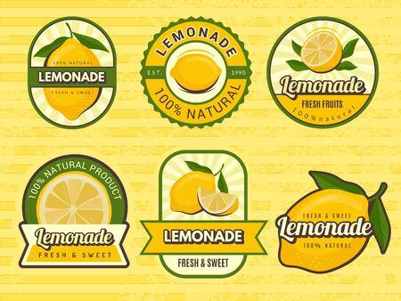 Lemonade badges. Retro labels with lemon illustrations vector design emblem for juice. Label emblem, fruit lemonade, juice fresh drink illustration Stock fotó - 138261936