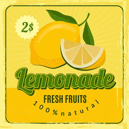 Lemonade retro poster. Brochure marketing placard with fresh lemon juice vector restaurant marketing design. Lemonade juice, fresh drink placard with price illustration Stock fotó - 138261943