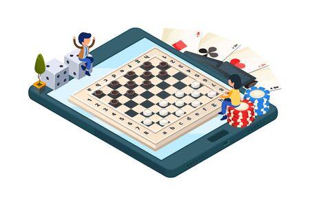 Jeu de société en ligne. Téléphone isométrique avec jeu de dames. Personnages de joueurs vectoriels, dés, cartes. Championnat de dames d'illustration en ligne Vecteurs