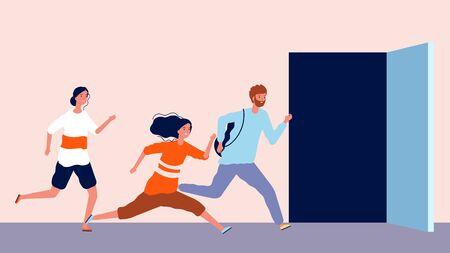 La gente corre para abrir la puerta. Llegando tarde, hombres y mujeres se apresuran. Final o comienzo de la ilustración de vector de día de oficina de trabajo. Puerta abierta y la persona corre hacia la oportunidad Ilustración de vector