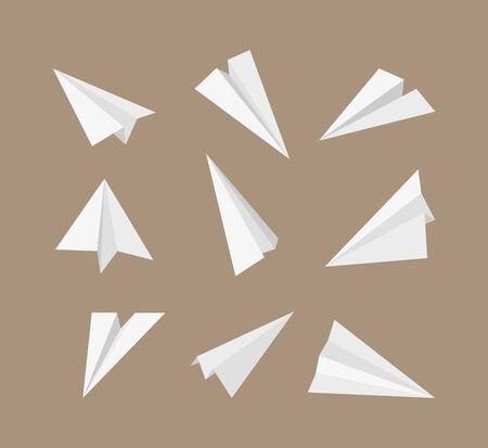 Paper planes. 3d origami aircraft flying paper travelling symbols vector set. Origami plane transport, paper aircraft illustration collection Illusztráció