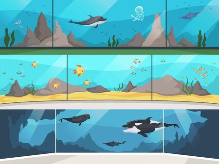 Museum aquarium. Underwater zoo children with parents watching big fishes vector horizontal banner. Illustration oceanarium and aquarium, underwater museum Illusztráció