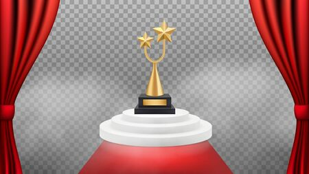 Award background. Golden trophy on white podium and red carpet and curtains. Vector realistic award winning backdrop. Vip celebrity event, triumph and success illustration Illusztráció