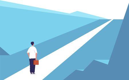 Nuevo concepto de viaje. Carretera carretera persona abstracta de pie oportunidades de negocios al aire libre vector fondo plano. Carrera nueva forma, viaje de empresario a la ilustración de oportunidad