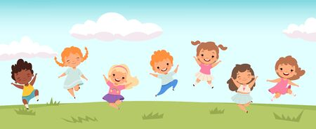 Happy jumping kids. Funny children playing and jumping on meadow. Little people vector background. Friendship girl and boy, childhood joy group illustration Stock fotó - 138176756