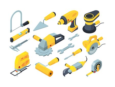Constructions tools. Drill hammer paintbrush measuring builders equipment vector isometric. Illustration hammer and screwdriver, drill equipment Illusztráció