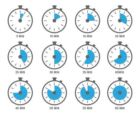 Clock symbols. Timers minutes and hours circle graph objects 5, 10 and 20 min vectors. Clock with seconds and minutes illustration Stock fotó - 138176877