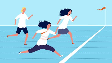 Female competition. Business women strive for success. Team leader or leadership vector concept. Leader female run to success, team leadership illustration