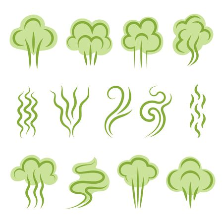 Smell symbols. Aromas steam lines clouds vapour shapes scent odour vector graphic set. Illustration odor and smell, cloud green scent Illustration