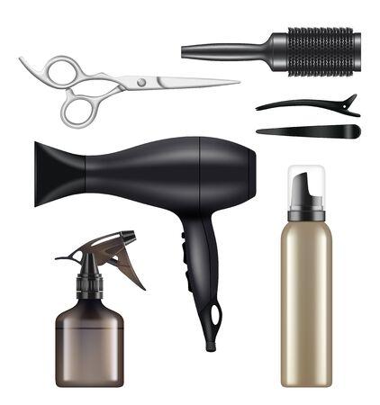 Peluquería. Herramientas de peluquería para peluquería trabajador secador de belleza máquina de tijeras para afeitar imágenes vectoriales realistas. Máquina de pelo, ilustración de equipo de peinado de peluquero