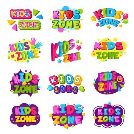 Logotipo de la sala de juegos. Emblema gráfico del texto de las insignias divertidas coloreadas de la zona de los niños para el conjunto del vector de las áreas de la educación del juego. Sala de juegos y logotipo de kidzone, ilustración de emblema de banner Logos