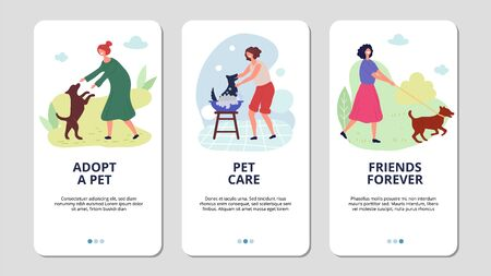 Pets care. Woman adopt puppy and go to walk with dog. Animal rescue vector mobile app landing page templates. Illustration adopt puppy, and walking in park