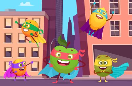 Superheroes in city. Urban landscape with fruits characters in action poses healthy food heroes vector background. Superhero fruit, orange and apple, healthy superpower illustration 일러스트