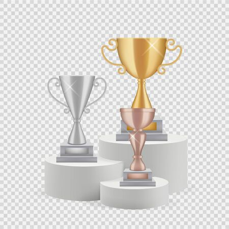 Trophy on podium. Golden, silver and bronze cups isolated on transparent background. Awards vector set. Illustration winner podium sport