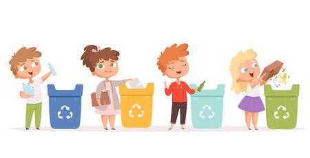 Kinder, die Müll recyceln. Rettung der Naturökologie, sicherer Umweltschutz, gesunde Recyclingprozesse, Vektorzeichentrickfiguren. Mülleimer, Abfallrecyclingillustration Vektorgrafik