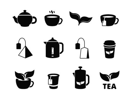 Black tea icons. Brewing herbal hot drinks iced and leaves vector pictogram set. Hot beverage in cup, breakfast tea green and black illustration