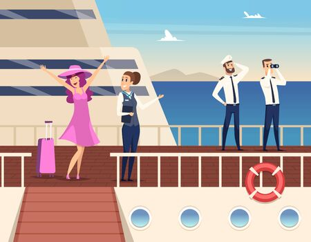 Captain on the sea ship. Sailor cruise team boat officer and stuart travel vector concept background. Captain uniform and cruise passenger woman illustration