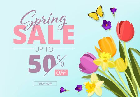Spring sale. Advertizing background banner with abstract geometrical shapes and flowers vector store coupon. Spring poster discount, promotion advertising illustration