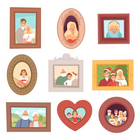 Family portraits. Photos of kids and parents mother father and grandparents happy smile faces vector collection set. Father and mother, grandparents photo portrait illustration