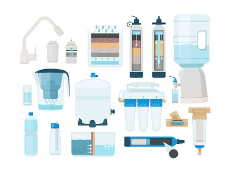 Treatments water. Home systems for fresh liquid pure water filtration mineral drinks pipe bottles tanks cleaning processes vector. Illustration water filtration, treatment filtering and purity