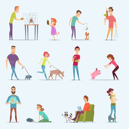 Animal owners. Dog kitten aquarium fishes people with lovely domestic animals vector cartoon characters. Illustration pet animal, domestic hedgehog, pig and dog, cat and parrot Illustration