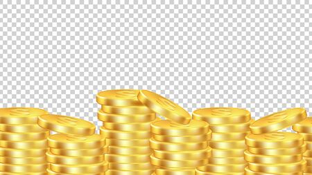 Golden coins background. Isolated realictic money. Vector coin pile transparent banner. Illustration golden currency, cash treasure pile Stock Illustratie