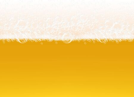 Beer foam. Transparent macro view bubbles on yellow background liquid alcoholic drink realistic vector template. Foam beer alcohol, macro fresh beverage illustration Ilustracja