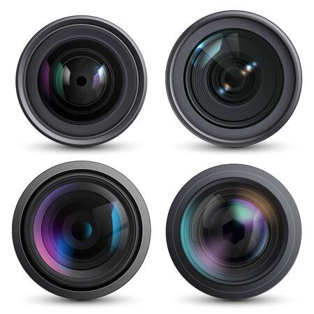 Optical lens realistic. Photo camera digital zoom aim photo reflection detail macro equipment vector collection. Illustration focus camera, lens equipment set Ilustración de vector
