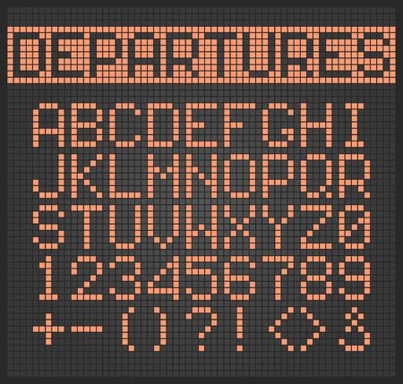 Dotted text. Electronic digital lighting alphabet letters and numbers for airplane monitor vector set. Alphabet digital display, scoreboard electronic dot illustration Ilustración de vector