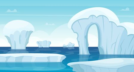Ice rocks background. North pole landscape white iceberg in ocean winter cold outdoor travel concept vector. Ice mountain in ocean water, white winter nature illustration