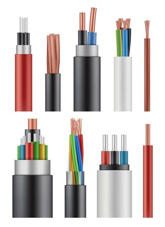 Optical fiber cord. Electricity wireless energy power cable close up vector realistic picture. Illustration realistic multicore wire, optical network colorful