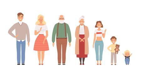Gran retrato de familia. Padre, madre, hija, hermano, hermana, niños, niñas, abuelos, bebés, personajes de estilo de vida vectorial. Padre padre y esposo, hijo y hermana, esposa y nietos ilustración Ilustración de vector