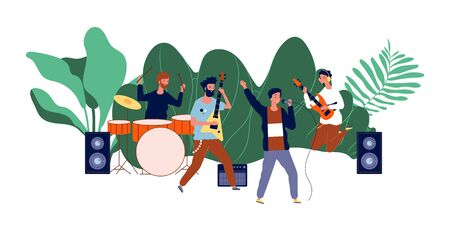 Male team concert. Boys band, men musicians or pop group. Open air rock festival, music event vector illustration. Rock band, guitarist and drummer