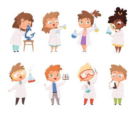 Wissenschaft Kinder. Kinder im Chemielabor Jungen und kleine Mädchen Vektor lustige Leute. Laborwissenschaft, Chemiekinder in der Laborbildungsexperimentillustration