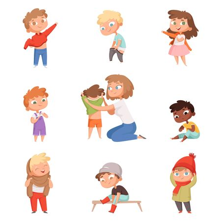 Dressing up kids. Children changing clothes dresses and pants with shoes vector pictures set. Child clothing, clothes collection for boy and girl illustration Vetores