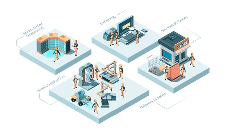 Smart manufacturing. Production processes concept innovation idea robotic technologies and store distribution vector isometric. Production factory, industry automation and manufacturing illustration Illustration