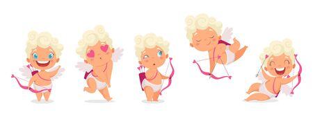 Bambini dell'Amur. Cupido divertente, angioletti o dio eros. Simpatici bambini greci con fiocco, cacciatori di cuori romantici personaggi vettoriali. Cupido angelo romantico, illustrazione del cherubino del personaggio