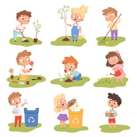 Bambini che piantano. Bambini felici giardinaggio scavo raccolta piante eco meteo proteggere l'insieme di vettore dell'albero. Illustrazione di giardinaggio di bambini con pala che innaffia e pianta Vettoriali