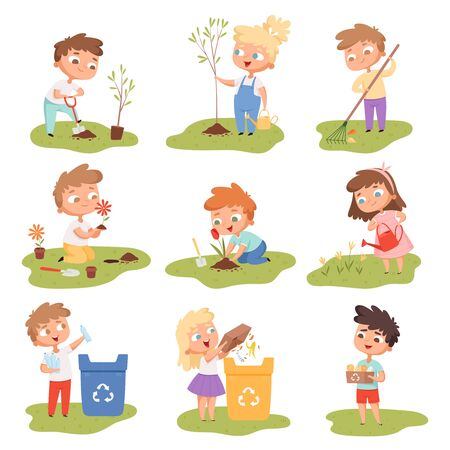 Kids planting. Happy children gardening digging picking plants eco weather protect tree vector set. Gardening illustration of kids with shovel watering and planting