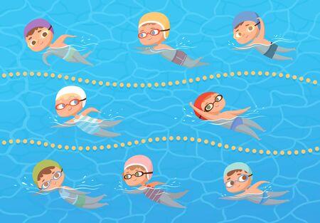 Niños en piscina de agua. Niños deporte educación natación lección vector dibujos animados clipart. Agua de piscina deportiva, diversión infantil, ilustración de natación de niño y niña
