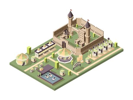 Amusment park. Isometric attractions with medieval castle circus ferris wheel and roller coaster vector fun landscape. Amusement park, carousel and castle isometric Vettoriali