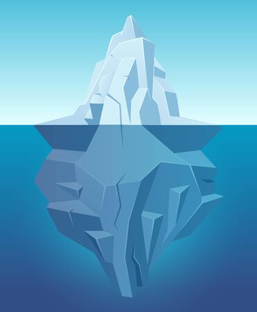 Iceberg in ocean. Big ice white rock in water polar landscape in cartoon style vector outdoor nature. Iceberg underwater, undersea and underside arctic illustration