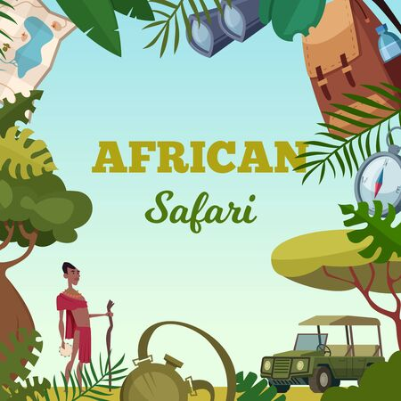 Safari frame. African tour travel concept for adventure brochure background jungle wild animals cars and various items. Safari tropical savannah, african wildlife expedition and travel