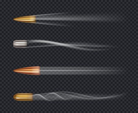Flying bullet. Motion firing target jacket trace of bullet shots vector realistic template. Illustration bullet flying, shot fire military motion