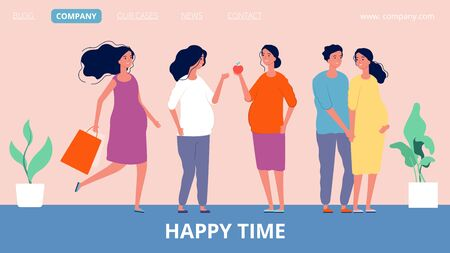 Maternity landing page. Happy pregnant women. Girls expecting children, family and parenthood vector banner template. Maternity pregnant, motherhood pregnancy, parent expecting childbirth illustration Ilustrace